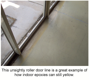 A roller door line showing how indoor epoxies can still yellow.