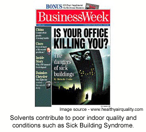 A magazine cover promoting an article on solvents and indoor air quality.