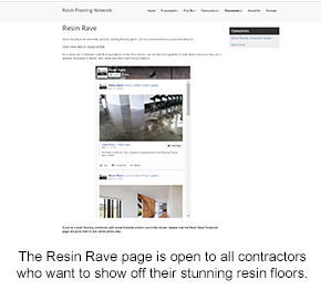 A snapshot of the Resin Rave page on the Resin Flooring Network website.