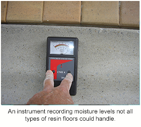 A moisture meter recording levels of moisture not suitable for all types of resin flooring.