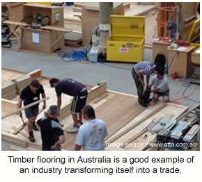 Proper floor training, like the timber program shown here, is an important part of a flooring trade.