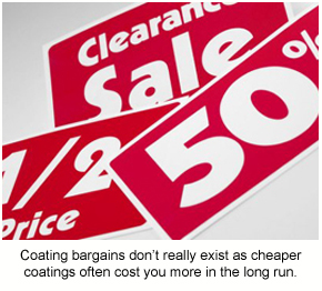A collection of sales banners and bargains, which don't have a place in the coatings industry.