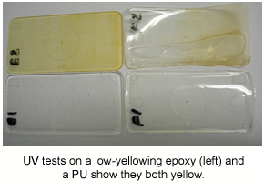 An image showing how UV tests yellow both epoxy and PU samples.