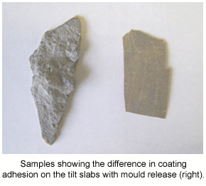 Samples of epoxy showing the difference in coating adhesion on concrete contaminated with mould release.