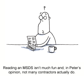 A caricature of a contractor reading an MSDS with a confused look on their face.