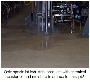 An industrial floor in a processing facility - an example of a floor that requires specialist products from the right flooring brand.